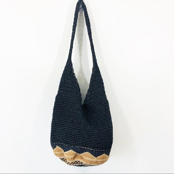 Handbags - Black and Tan straw hobo bag with boho bottom